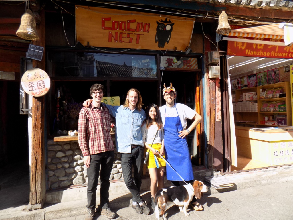 From left: Me, Eamon (an Australian man who spent a week with us), Nicole (our boss, the Coocoo's manager), Chris, and Elephant, the neurotic English-speaking dog.