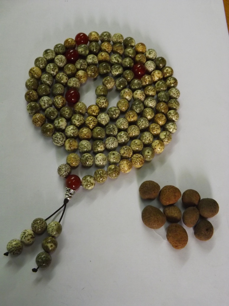 A Bodhi seed rosary made by Zhang. Each seed is individually sanded down to reveal the light interior. This rosary took one month to complete.